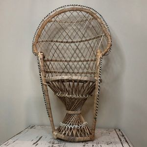 Wicker Peacock Chair Boho Plant Stand